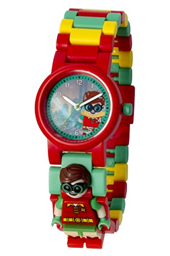 Lego Batman Movie 8020868 Robin Kids Minifigure Link Buildable Watch | Red/Green | Plastic | 28Mm Case Diameter| Analogue Quartz | Boy Girl | Official