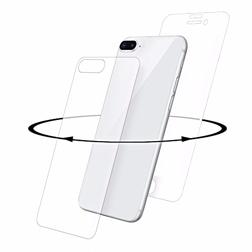 EIGER iPhone 8 Plus Premium Tempered gebogene Glas-Displayschutzfolie 360   Grad, Vorder-und Rückseite Glas, [Japanese Asahi Glass] mit Reinigungs-Kit - White / Clear