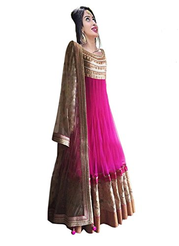 Dresses for women new arrival western party wear Anarkali semistitched dress materials by Ecolors Fab Women\'s Dress (510_suit_dress _Free Size)