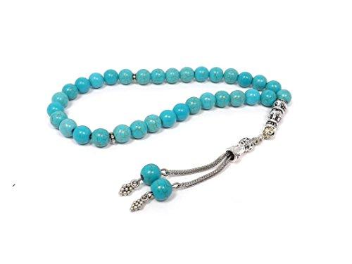 Hochwertige Gebetskette - Tesbih Tasbih Tespih Misbaha Subha 33 Perlen - Türkis Naturstein