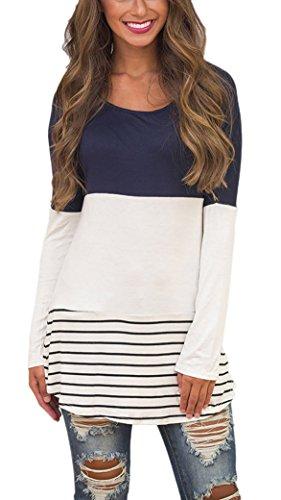 Yidarton Damen Langarm Shirt Bluse Tunika Oberteile Streifen Lace Loose Pullover Lang Sleeve Tops (L, Dunkelblau)
