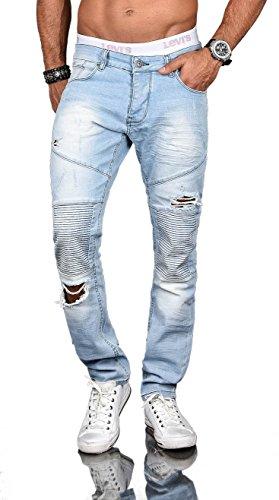 Stylische Herren Röhrenjeans Slim Fit Jeans Hose Biker Washed Stretch B518