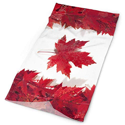 Qinckon Abstract Canadian Flag Maple Leaf Headband Unisex Headwrap Magic Head Scarf Bandana Headwear Neckerchief Polyester Hood Novelty Headdress Scrunchie Face Mask Neck Gaiter -