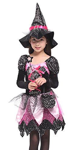 DEMU Hexenkostüm für Kinder Mädchen Halloween Kostüm Hexenkleid mit Hut (Halloween 4 Passenden Kostüme)