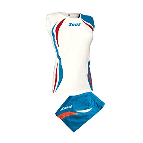 Zeus Damen Volleyball Trikot Hose Shirt Indoor Handball Training Ausbildung KIT KLIMA WEISS ROYAL ROT (S)