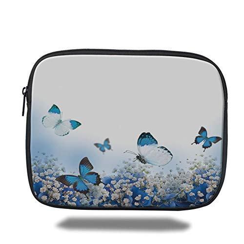 Tablet Bag for Ipad air 2/3/4/mini 9.7 inch,Light Blue,Blue Hydrangeas and Butterflies Rural Scenery Freshness Spring Yard Garden Decorative,Blue Black White,3D Print -