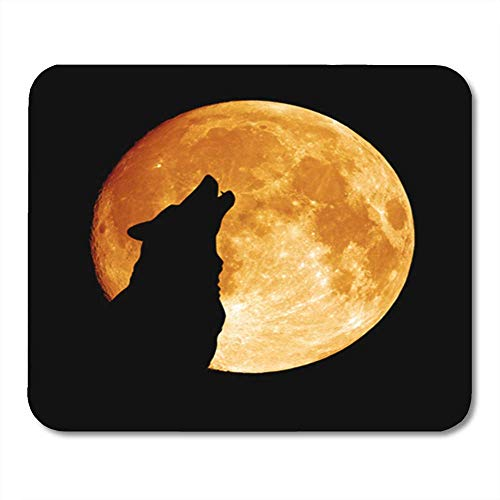 Gaming Mauspads, Gray Full Wolf Howling at The Moon in Midnigt Halloween Silhouette Dog Head Pack Eye 11.8