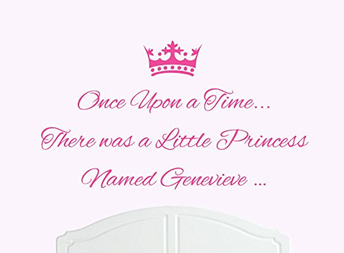 Once Upon a Time There was a Little Princess, chiamato Genevieve Grande adesivo da parete per stanza da letto, Baby Girl