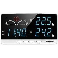 Excelvan - LCD Estacion Meteorologica Inalambrica Digital (Pronostico del Tiempo, DST, con Sensor Impermeable, Monitor de Temperatura y Tiempo, Despertador, Calendario)
