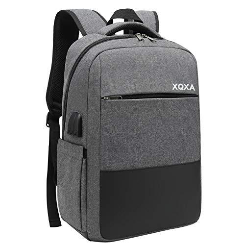 """XQXA Sac à Dos Ordinateur Portable Homme Imperméable Antivol avec USB Charging Port Sac a Dos PC Portable 15,6"""" Sac à Dos de Voyage d'affaires Loisirs Collège -Gris"""