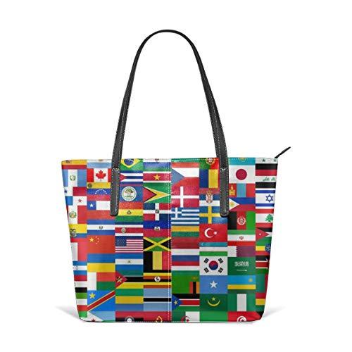 hulili Frauen weiches Leder Tote Umhängetasche Flaggen Quiz Spiele Mode Handtaschen Umhängetasche Geldbörse