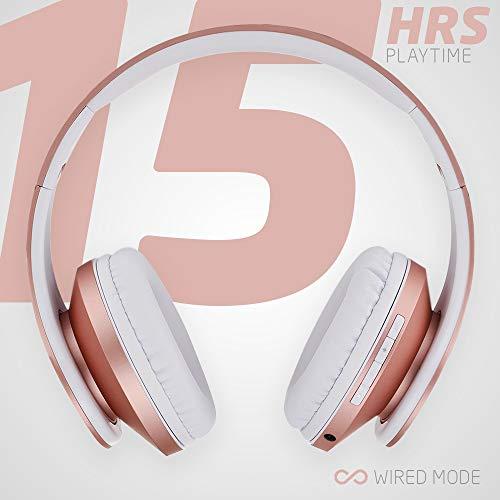 PowerLocus Bluetooth Over-Ear Kopfhörer, Kabellos Stereo Faltbare Kopfhörer Kabellose und Kabel-Kopfhörer mit Integriertem Mikrofon, Micro SD/TF, FM für Handys/iPad/Laptops & PC (Rose Gold) - 4