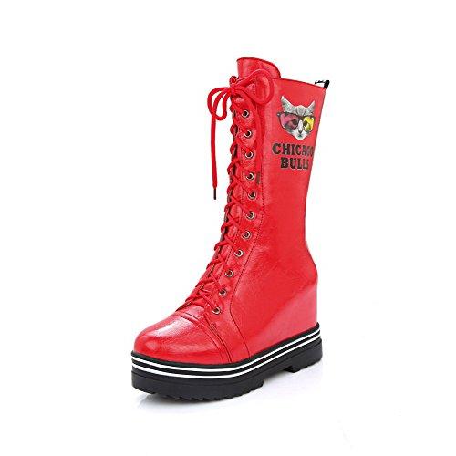 AllhqFashion Damen Schnüren Mitte-Spitze Weiches Material Rund Zehe Hoher Absatz Stiefel, Rot, 36