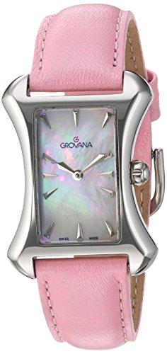 GROVANA 4422,1536 Swiss-Orologio da donna al quarzo con Display analogico e cinturino in pelle, colore: rosa