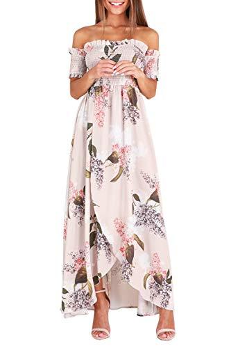 GREMMI Sommerkleider Damen Blumen Maxi Kleid Schulterfreies Abendkleid Strandkleid Party Schulter Kleider Chiffon Kleid- Gr. 40(L) ,Beige