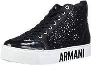A|X Armani Exchange Women's Sneaker High Top with Glitter Walking Shoe, Black, 39M Medium EU (8
