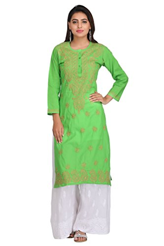 Lucknow Chikankari Handcrafted Regular Wear Cotton Kurti Kurta by ADA A214103