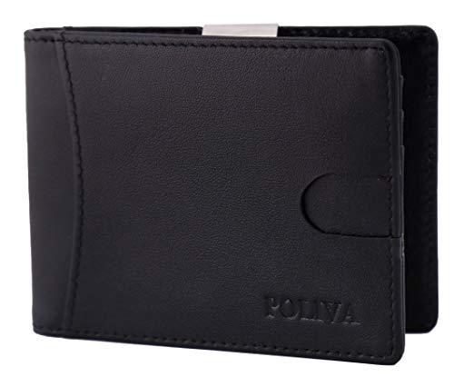 Premium Leder-Kreditkartenetui für Herren - POLIVA Mini Geldbörse mit Kartenhalter & Slim Clip - Wallet mit RFID Schutz - braun & schwarz - 6 Fächer -