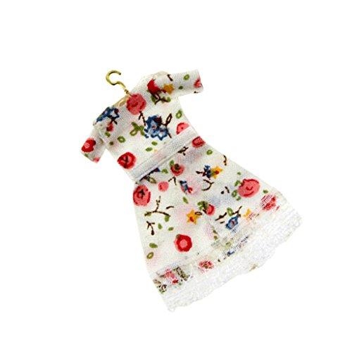 MagiDeal 1/12 Dollhouse Miniature Robe Lace Floral Skirt avec Cintre Vêtements Décor pour Poupée - #2