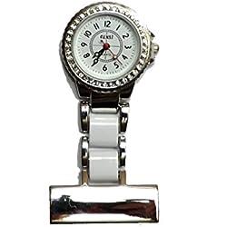 uWANTit Diamante 2 tone - White & Silver Nurses Medical Doctors Fob Watch