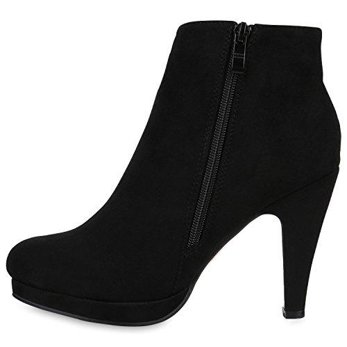 Klassische Damen Stiefeletten Plateau Schuhe Stiletto Absatz Schwarz
