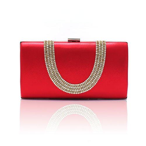 H:oter Frauen u. Mädchen Eleganz & Abschlussball-Partei-Abendhandtasche mit Kristall magischen Ring Griff, Handtasche, Geschenkideen - verschiedene Farben, Preis / Stück Rot