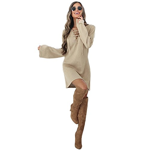 Donna Vestito, Reasoncool Fshion femminile fasciatura di modo lungo sexy dal manicotto con scollo a V vestito casuale (M-Busto:36.2