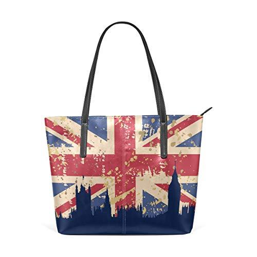 Vintage Union Jack britische Flagge PU Leder Schultertasche Tasche für Frauen Mädchen -