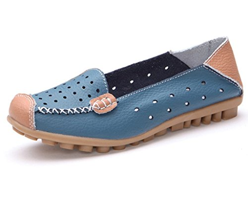 Minetom Damen Mokassin Hohl Flach Arbeiten Loafer Slipper Schuhe Sommer Bootsschuhe Blau EU 40 (Loafer Blu)