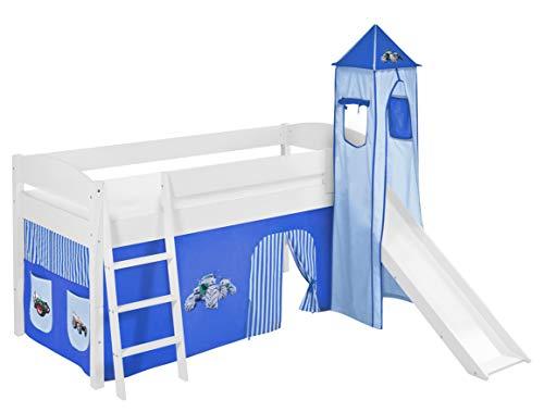 Lilokids Spielbett IDA 4105 Trecker Blau-Teilbares Systemhochbett weiß-mit Turm, Rutsche und Vorhang Kinderbett Holz 208 x 220 x 185 cm