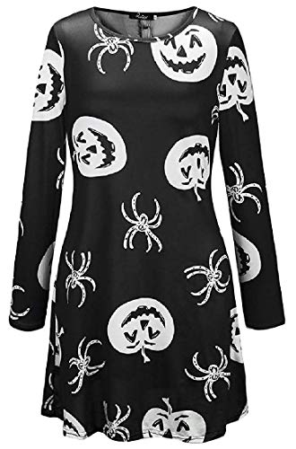 Gapsonic Langärmeliges Halloween-Rundhalsausschnitt mit Rundhalsausschnitt und bedrucktem Midi-Kleid (Farbe : Pattern4, Größe : US XL=China 2XL)