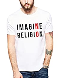 Creative Graphic Printed Polyester T Shirt (Imagine No Religion) By TBT ™
