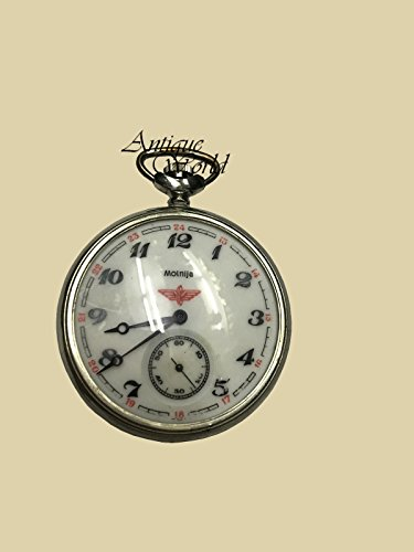 Antiques World Soviet Mechanical Antique Time Piece Vintage Collectible Pocket Watch Molnija Serkis of USSR 1989 with Manual Winding AWUSAHB 0234