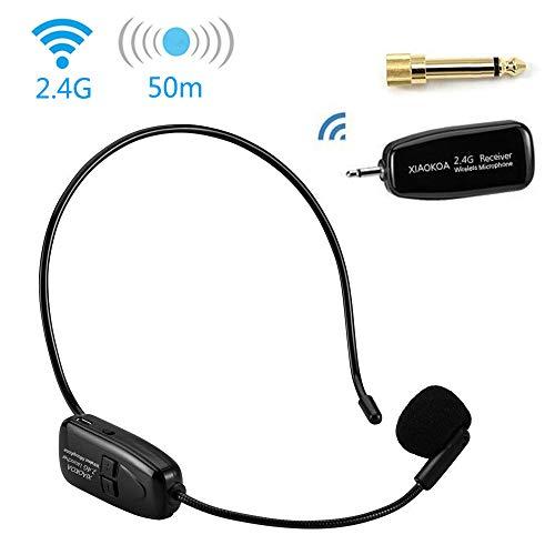 Wireless Mikrofon,XIAOKOA 2.4G Lautsprecher Mikrofon-Sets, 40m Stabile Drahtlose Übertragung, Headset und Handheld 2 In 1, für Sprachverstärker
