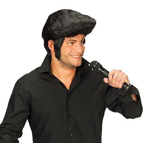 Schwarze Elvisperücke Perücke Elvis Presley schwarz King of Rock n ()