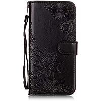 BONROY Samsung Galaxy S9 Plus Hülle Case,Lederhülle PU Leder Flip Tasche Handy Schutzhülle Handyhülle mit [Ständer Funktion] Kunstleder Cover- (YH-Spitze Blume Schwarz)