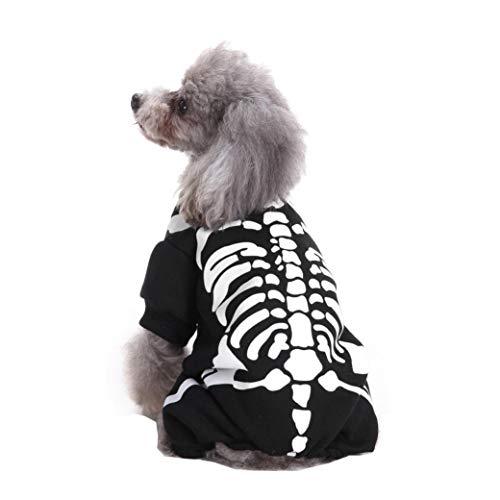 Cool und niedlich Haustier Hund Knochendruck Cosplay Skelett Kostüm Hund Haustier Kostüm Kleidung (XL)