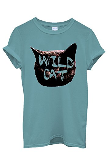 Wild Cat Kitten Meow Roar Cool Funny Men Women Damen Herren Unisex Top T Shirt Licht Blau