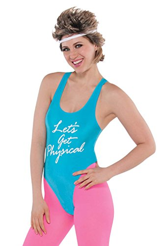 Neon Blue and Pink Lets Get Physical Video Costume for Women. Size 10-12.