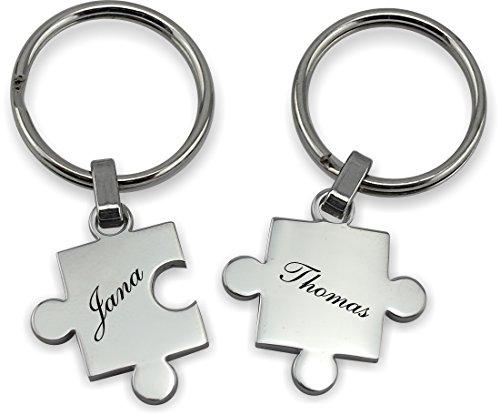 *Wunderschöner Partner Puzzle Schlüsselanhänger Silber oder Schwarz inkl. Gravur Wunschname (Silber)*