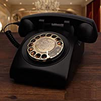 Retro Telephone, Classic Desk Phone Home Phone Rotary Dial Vintage With Rotary Dialler Living Room Study Retro Decoration Home Office Phone Antique Telephone,office,hotel (Color : Black)