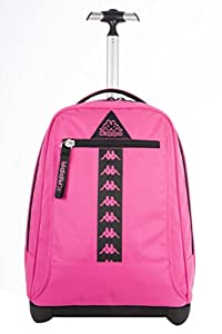 BIG TROLLEY KAPPA - LOGO - 2in1 Wheeled Backpack with Disappearing Shoulder Straps - Pink 31Lt