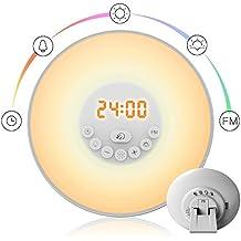 Lampe de Réveil Lumineux, StillCool 6 Sons Naturels Simulation d'Aube / de Crépuscule FM Contrôle Tactile (Lampe de Réveil)