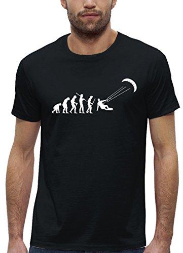 Kitesurfer Premium Herren T-Shirt aus Bio Baumwolle EVOLUTION KITESURFEN Stanley Stella , Größe: XL,Black