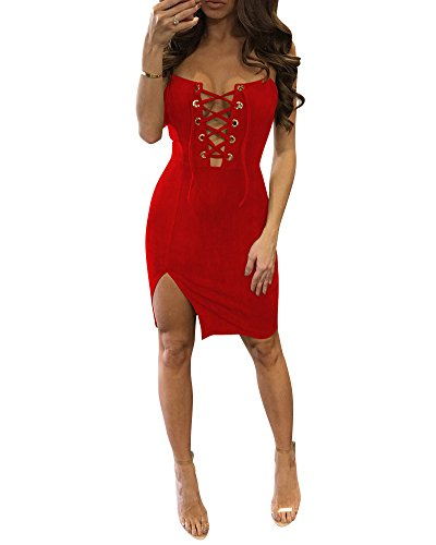 Donna Elegante Senza Femminile Spalline Halter V Profondo Bodycon Abiti Partito Club Cocktail Abito Rosso