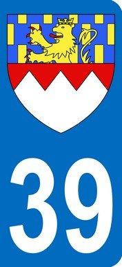 Nummernschildaufkleber mit dem Wappen für das französische DepartementNr. 39 (Departement Jura), 9,8x4,5cm