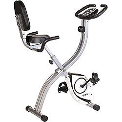 Sportplus Cyclette S- Bike Bicicletta da Camera con Monitor della Frequenza Cardiaca Pieghevole con schienale e manubrio al livello della sella