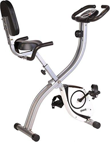 SportPlus Cyclette da Casa Pieghevole, Sellino Comodo con Schienale e Maniglie Laterali
