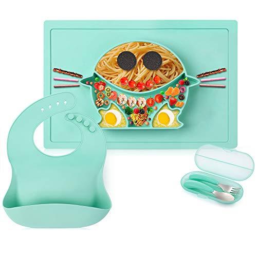5 PCS Baby Geschirr Babylätzchen Baby Silikon Teller Kinder Trennende Platte Platzset Rutschfester mit Saugnapf Abwaschbar-Grün
