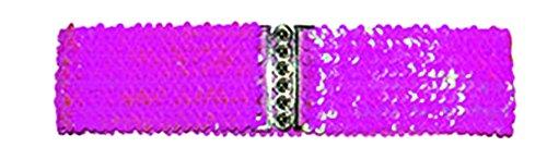 Halloweenia - Kostüm Accessoire- 80er- 90er Jahre- Disko Gürtel- Pailletten besetzt, Pink (Weste Kleid Gold)